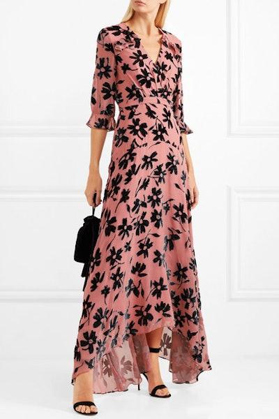 Edith Ruffled Flocked Chiffon Maxi Dress