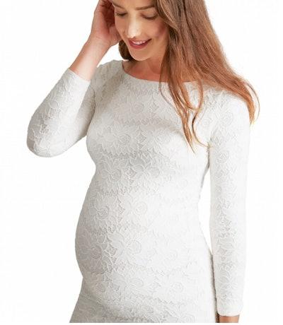 Boatneck Lace Maternity Dress