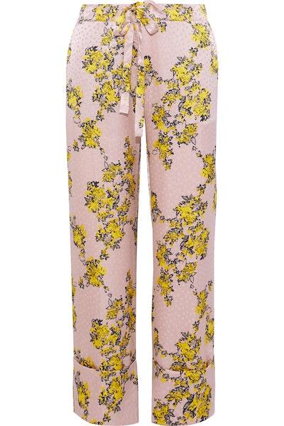 Niral Floral-Print Hammered Silk-Jacquard Wide-Leg Pants
