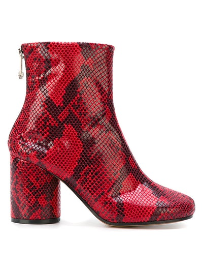 Snakeskin Effect Ankle Boots