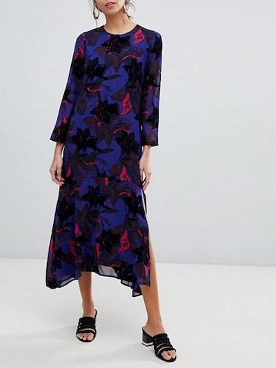 Flocked Floral Asymetric Midi Dress