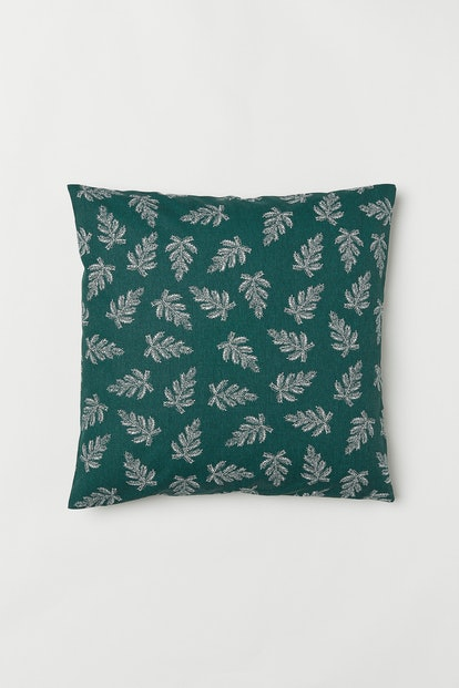 Patterned Cushion Cover in Dark Green/Fir Twigs