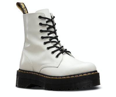 White Polished Platform Jadon Boots