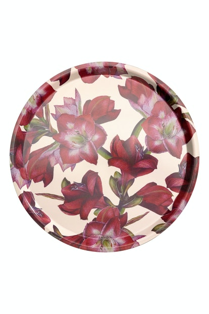 Round Tray in White/Amaryllis