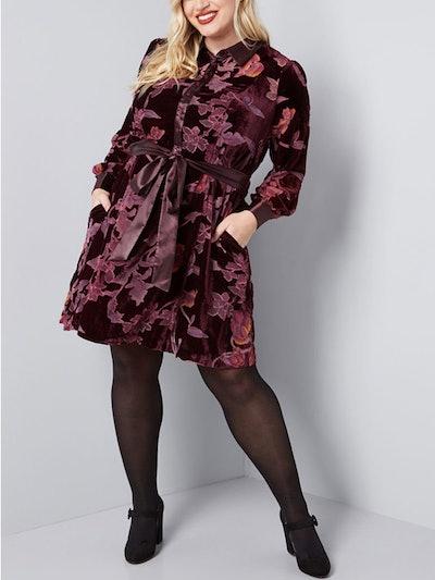 Efflorescent Dreams Velvet Shirt Dress