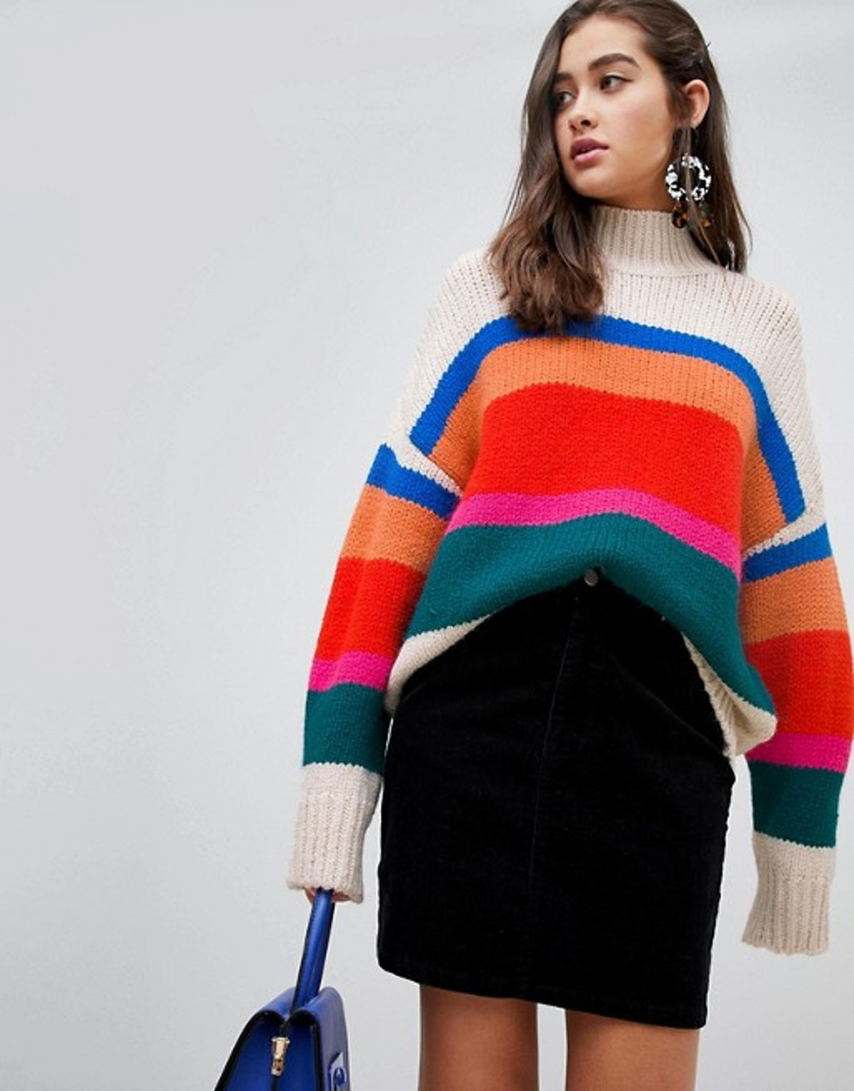 New Look High Neck Sweater in Cream Stripe