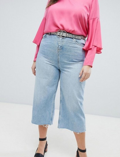 New Look Curve Wide Leg Cropped Jeans