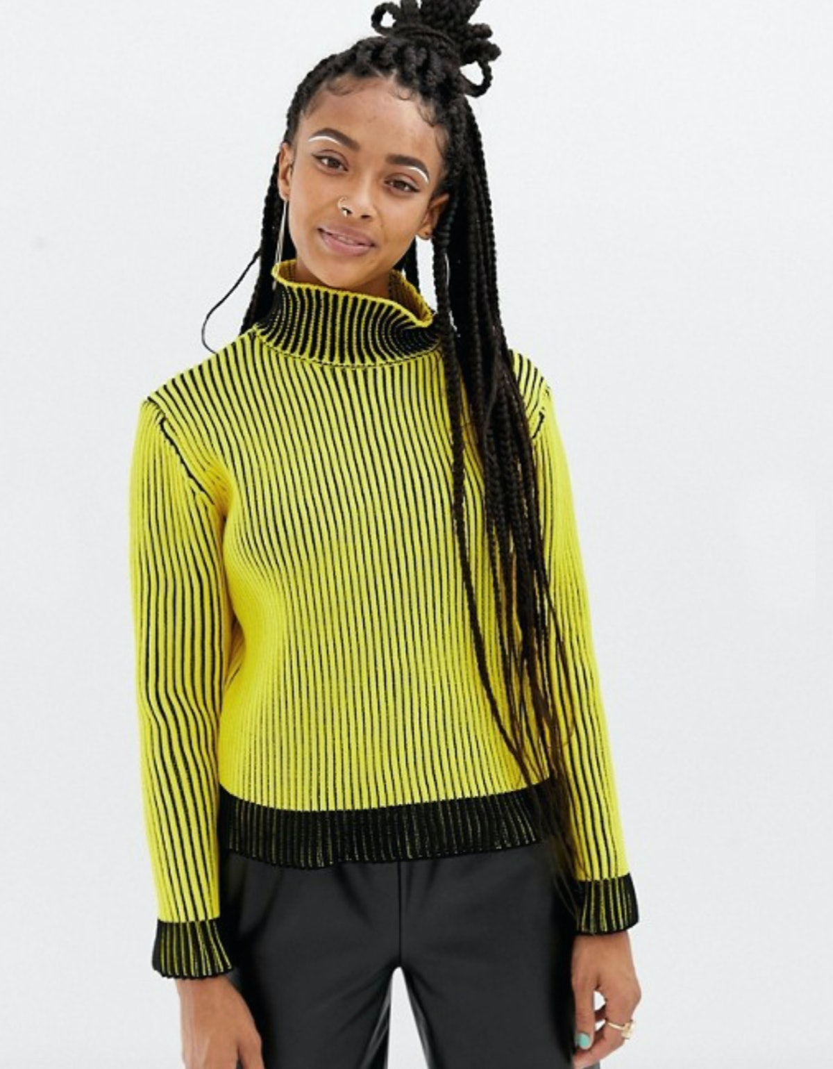 COLLUSION Ribbed Sweater with High Neck