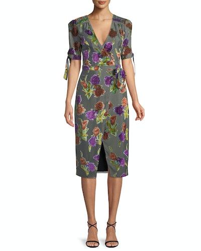 Floral Burnout Velvet Wrap Dress With Short Sleeves