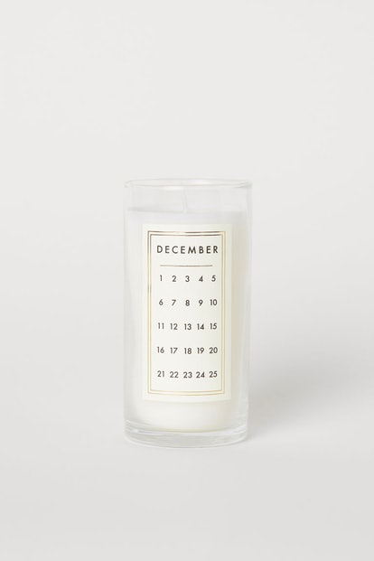 Scented Candle in Glass Holder in White/December