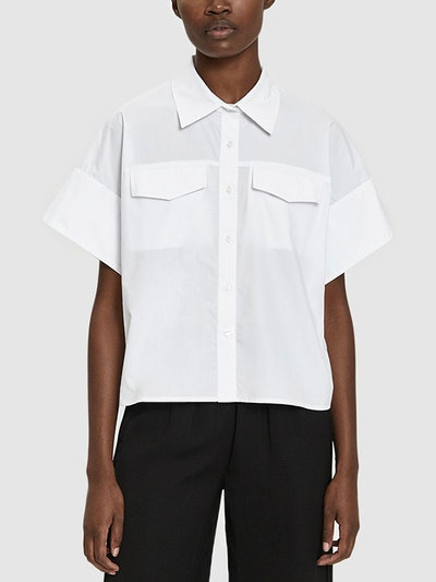 Callie Cropped Shirt in White