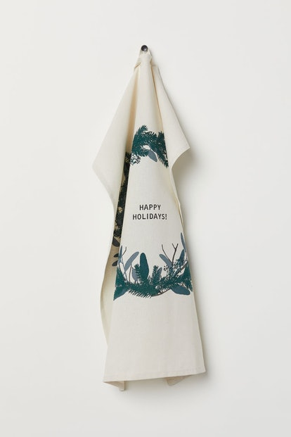 Printed Tea Towel in Natural White/Wreath