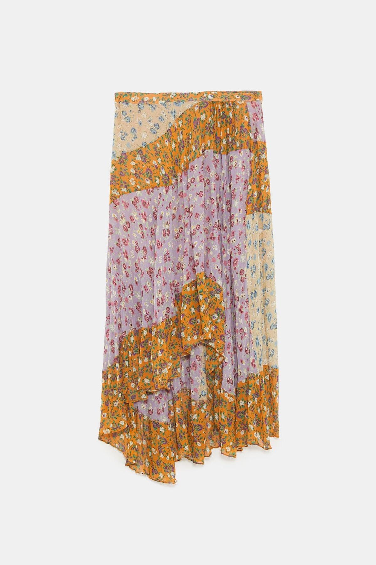 Floral Print Patchwork Skirt