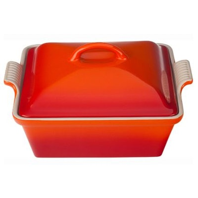 """Le Creuset Heritage Square Covered Baker, 9"""" in Flame"""