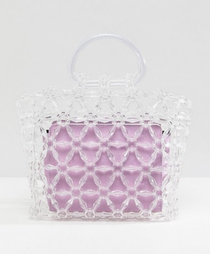 ASOS DESIGN beaded boxy clutch bag with removable contrast pouch