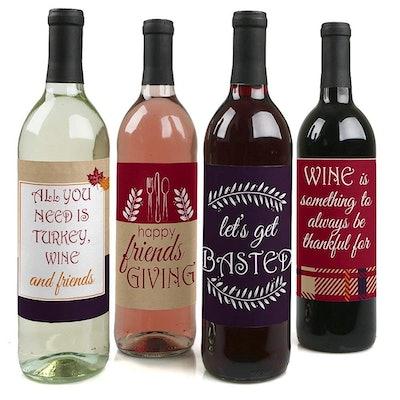Friendsgiving Wine Bottle Labels,