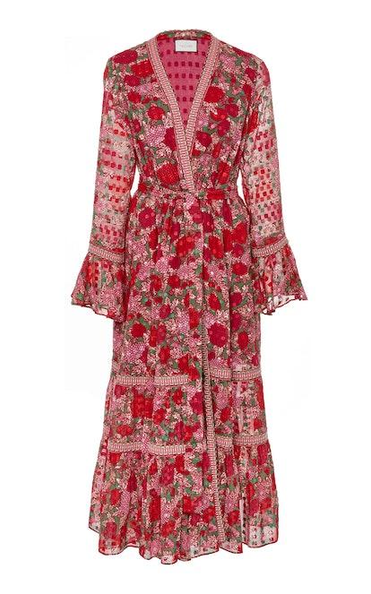 Marcas Long Sleeve Printed Midi Dress