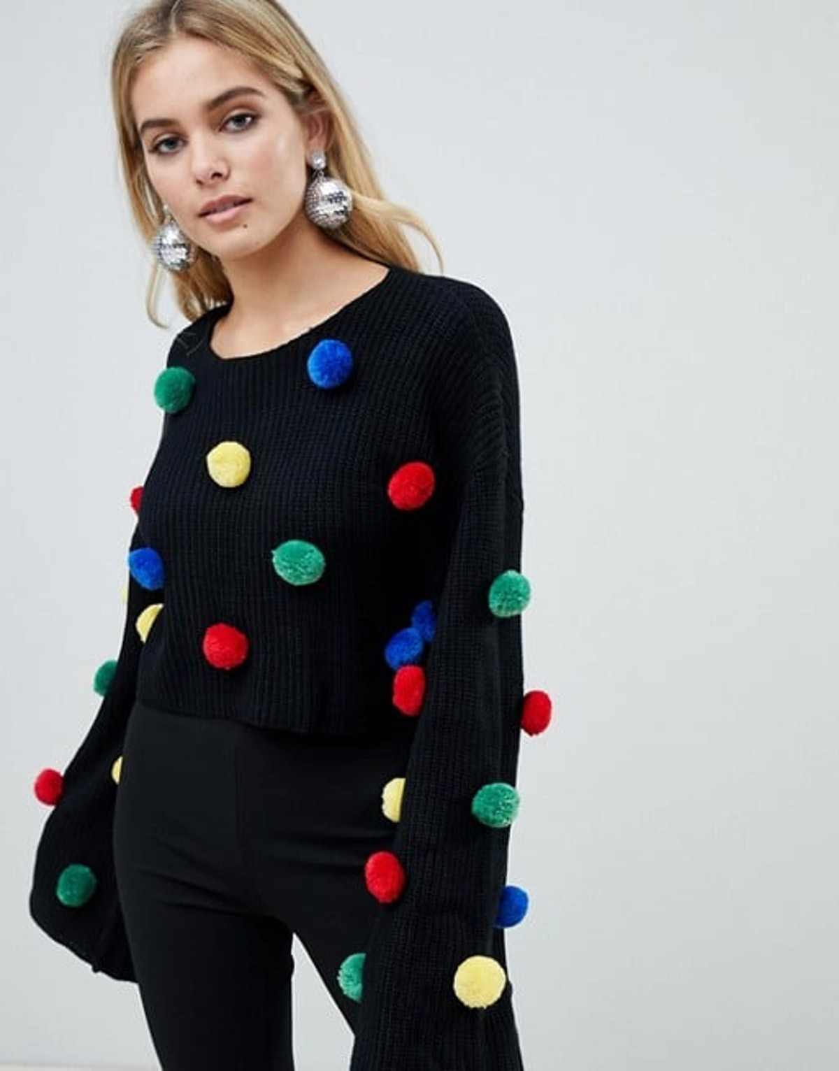 PrettyLittleThing Holidays Sweater With Pom Poms in Black