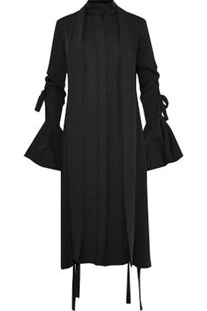 ELLERY Inez Pussy-Bow Twill Shirt Dress