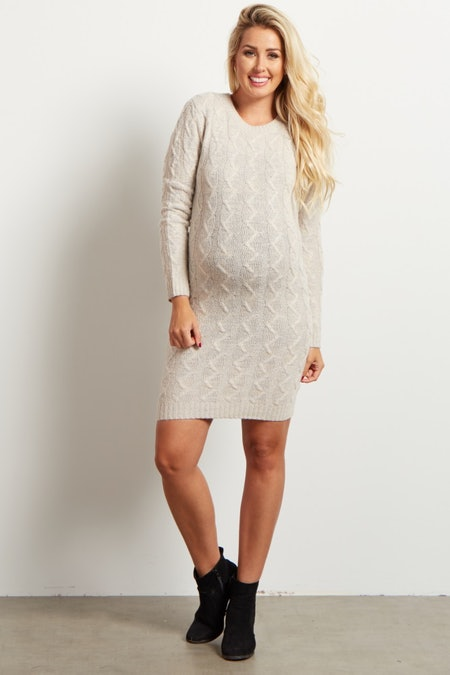 Cable Knit Maternity Dress
