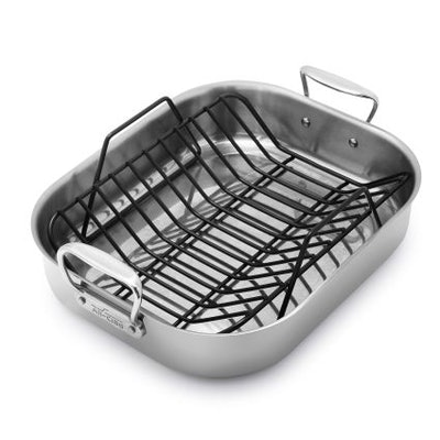 """All-Clad Stainless Steel Roasting Pan with Nonstick Rack 16""""X13"""""""