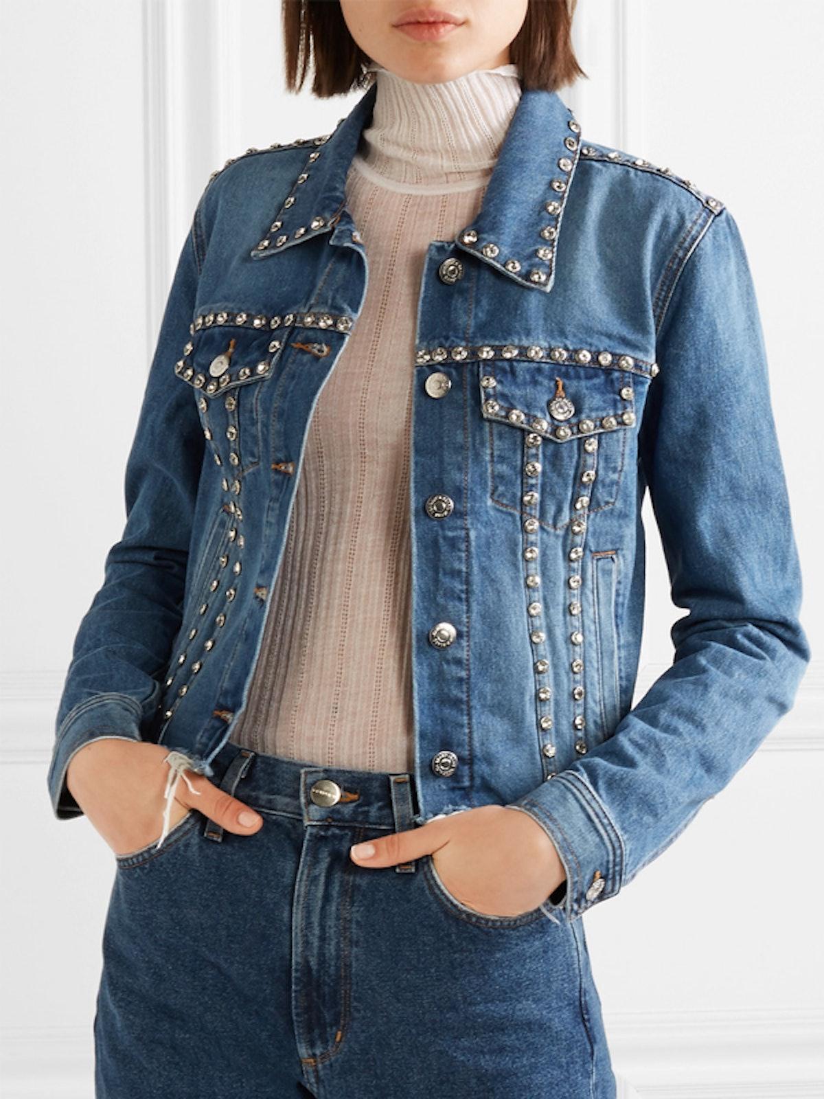Cara Cropped Crystal-Embellished Frayed Denim Jacket