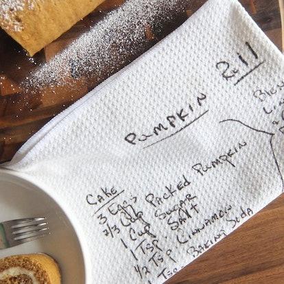 Handwritten Custom Dish Towel with Family Recipe