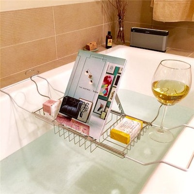 Stainless Steel Bathtub Caddy Tray Tub Removable Wine Glass Holders and Book Holder