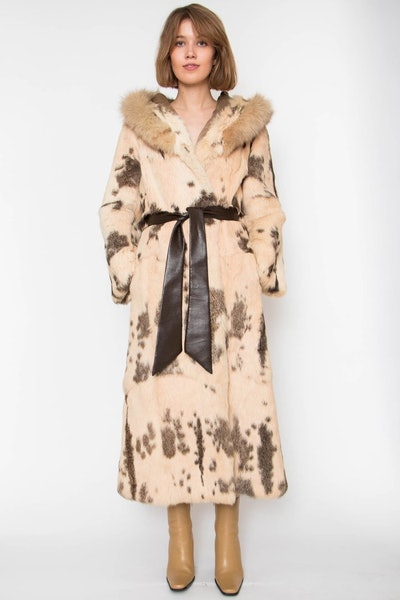 A 70s Hooded Rabbit Fur Coat With Fox Trimming Size S