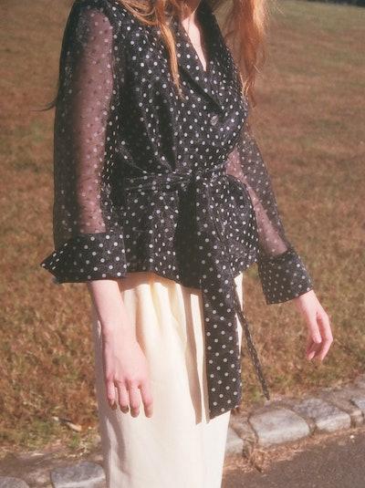 Vintage Polka Dot Tie Blouse