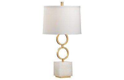 Henry Agate Table Lamp, Gold/White