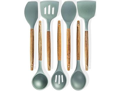HomeHero Wood Silicone Utensils (Set of 7)