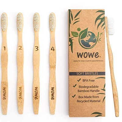 WowE Natural Bamboo Toothbrush (4-Pack)