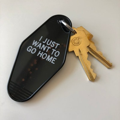 """Vintage Hotel Keychain - """"I Just Want To Go Home"""""""