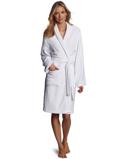 Herringbone Textured Plush Robe