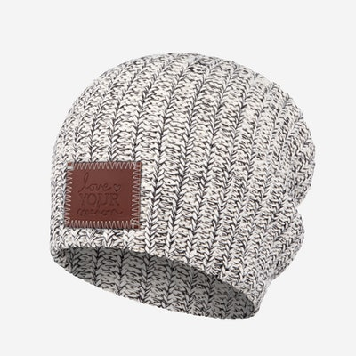 Black Speckled Patch Beanie