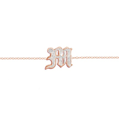 Single Gothic Letter Diamond Choker