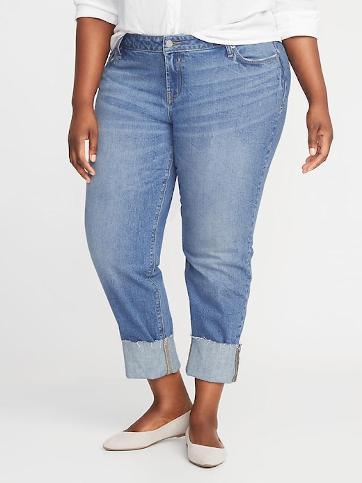 Mid-Rise Boyfriend Straight Plus-Size Raw-Edged Jeans
