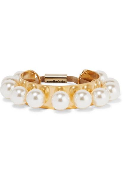 Jennifer Behr Perla Gold-Plated Swarovksi Pearl Hair Tie