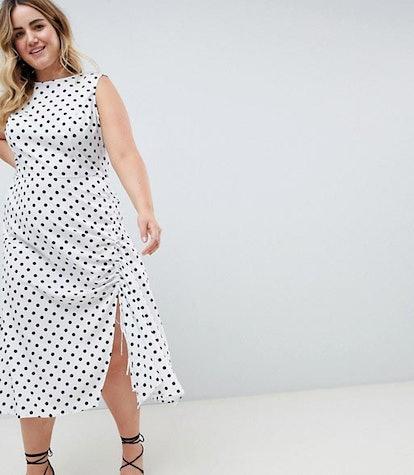 Sleeveless Polka Dot Maxi Dress