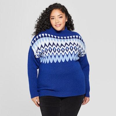 Ava & Viv™ - Women's Plus Fairisle Long Sleeve Sweater