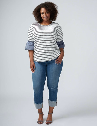 Straight Leg Crop Jean With Wide Cuff
