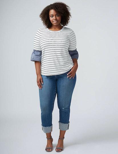 Straight Leg Crop Jean With Wide Cuff