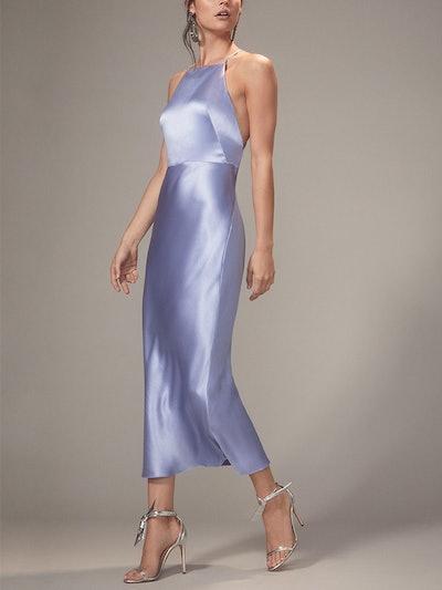 Lullaby Blue Satin Apron Dress