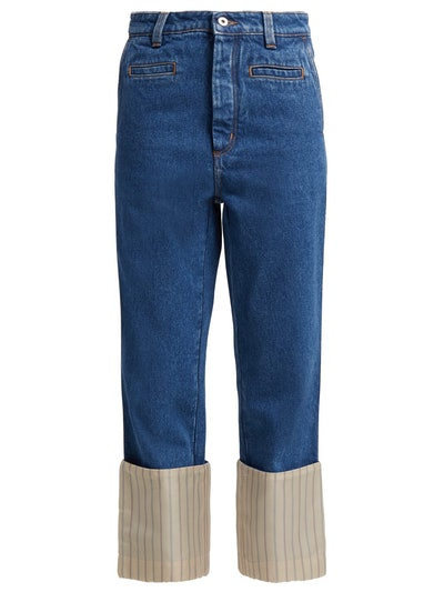 Fisherman Striped Turn-Up Denim Jeans