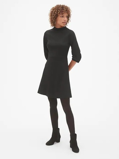 Balloon Sleeve Fit and Flare Dress in Ponte