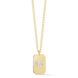 Double Pavé Number Dog Tag Necklace
