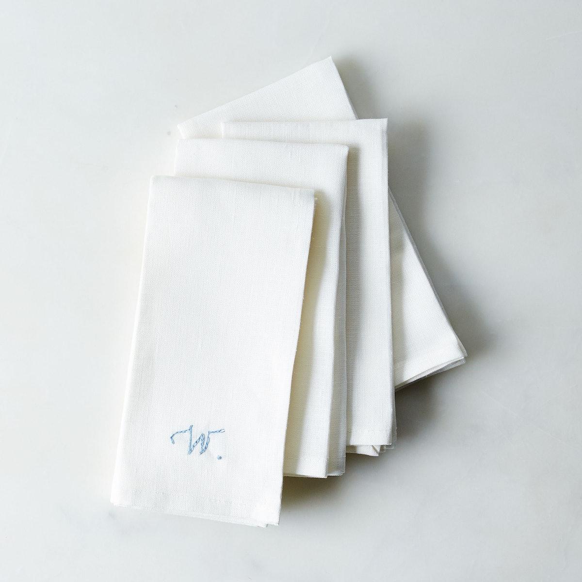 Celina Mancurti White Linen Napkins with Monogram Option (Set of 4)