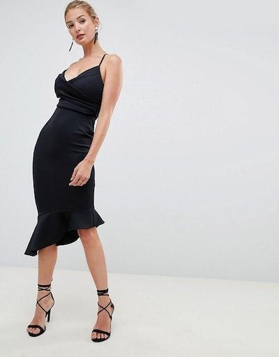 Fuller Bust Scuba Cami Pephem Midi Dress