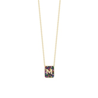 Personalized Multi-Color Stone Tablet Necklace